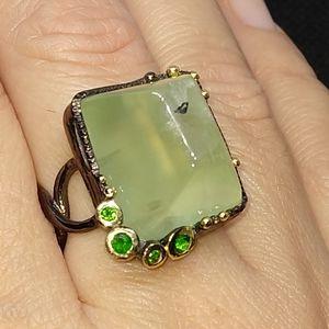 Jewelry - Unique genuine prehnite artistic ring